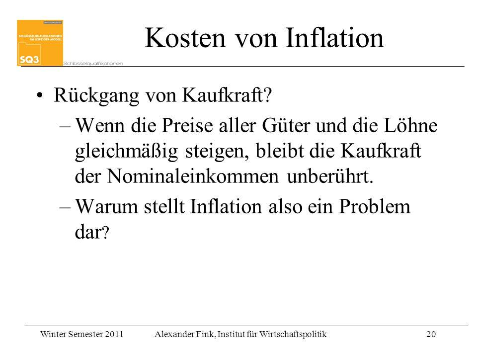 Kosten von Inflation Rückgang von Kaufkraft