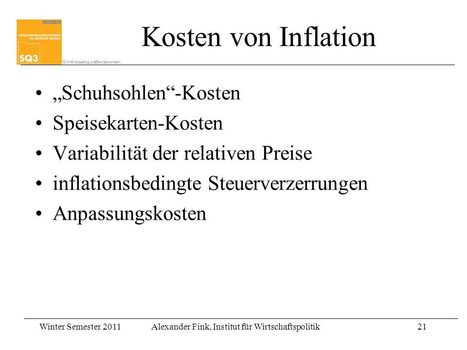 """Kosten von Inflation """"Schuhsohlen -Kosten Speisekarten-Kosten"""