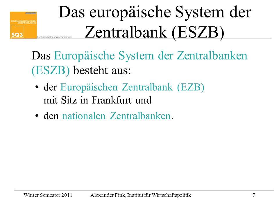Das europäische System der Zentralbank (ESZB)