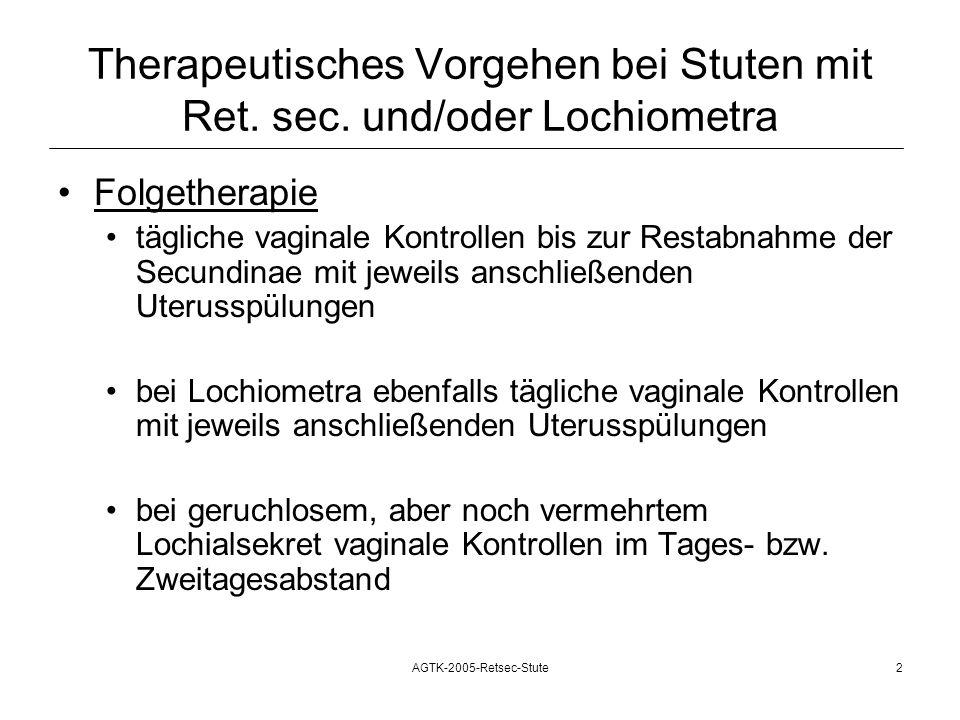 Therapeutisches Vorgehen bei Stuten mit Ret. sec. und/oder Lochiometra