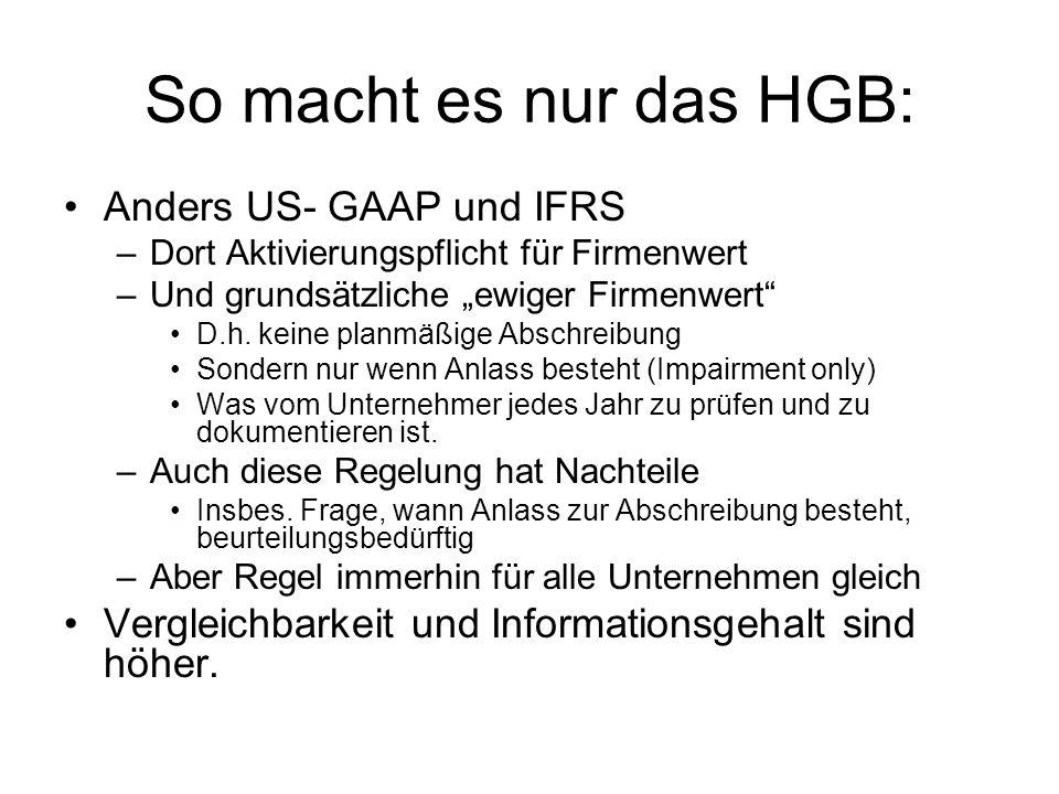 So macht es nur das HGB: Anders US- GAAP und IFRS