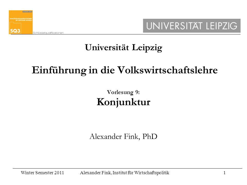 Universität Leipzig Einführung in die Volkswirtschaftslehre Vorlesung 9: Konjunktur Alexander Fink, PhD