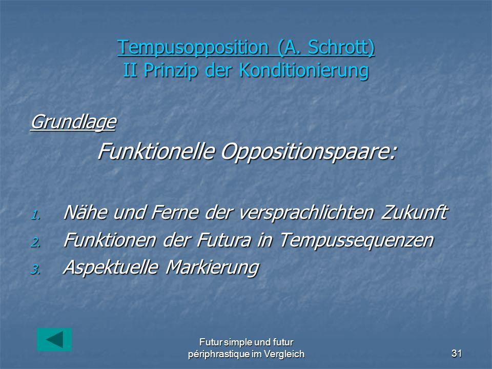 Tempusopposition (A. Schrott) II Prinzip der Konditionierung