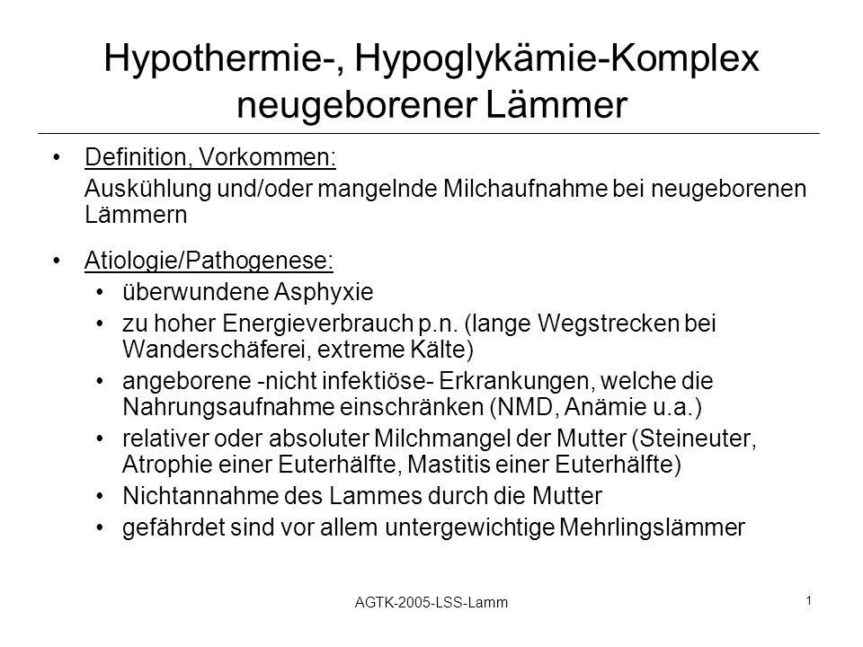 Hypothermie-, Hypoglykämie-Komplex neugeborener Lämmer