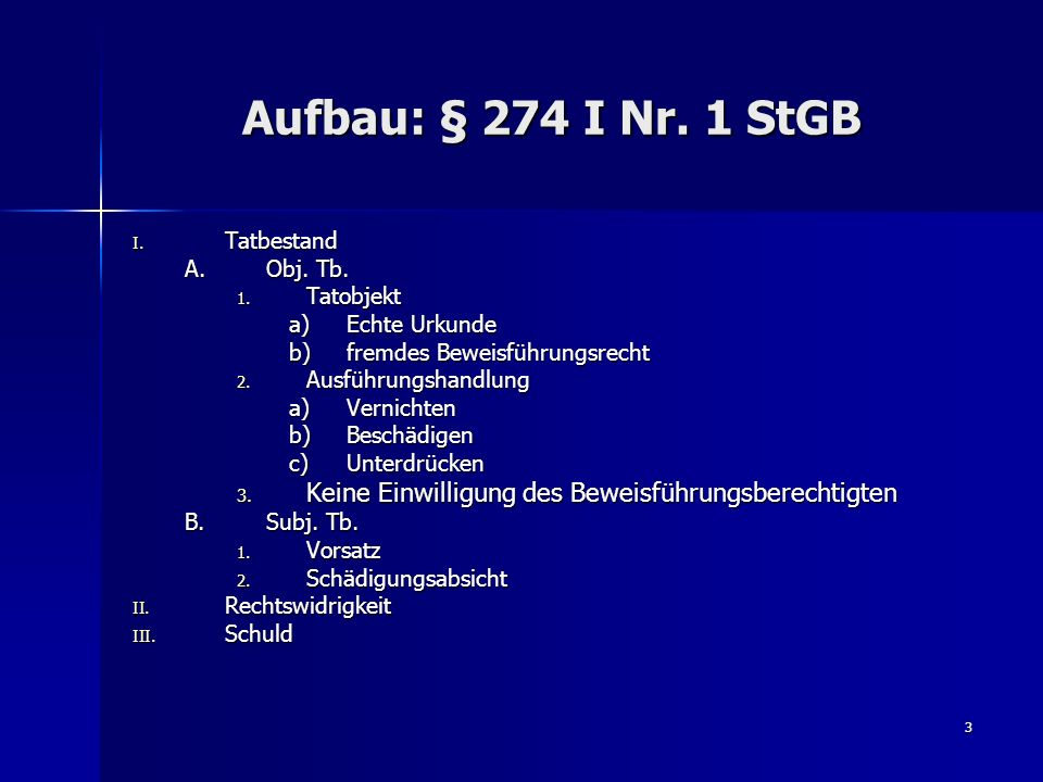 Aufbau: § 274 I Nr. 1 StGBTatbestand. Obj. Tb. Tatobjekt. Echte Urkunde. fremdes Beweisführungsrecht.