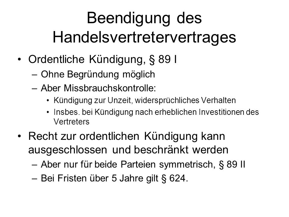 Beendigung des Handelsvertretervertrages