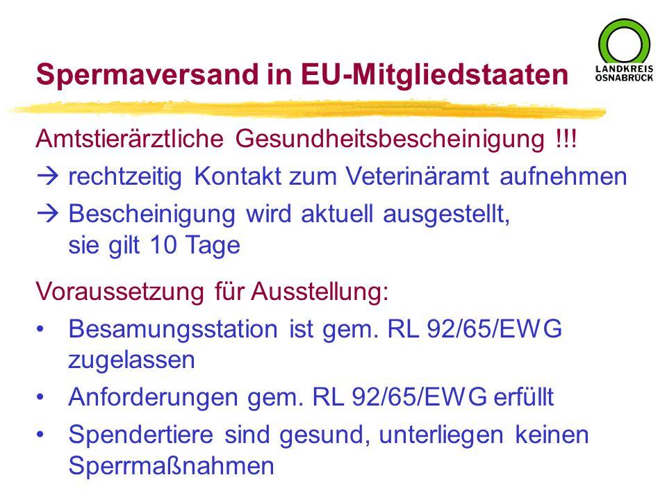 Spermaversand in EU-Mitgliedstaaten