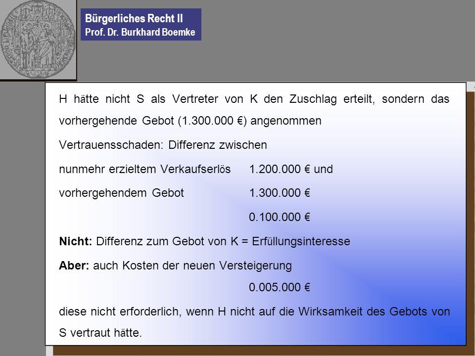 H hätte nicht S als Vertreter von K den Zuschlag erteilt, sondern das vorhergehende Gebot (1.300.000 €) angenommen