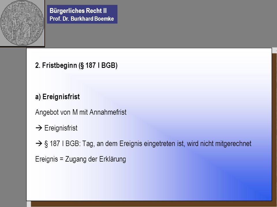 2. Fristbeginn (§ 187 I BGB) a) Ereignisfrist. Angebot von M mit Annahmefrist.  Ereignisfrist.