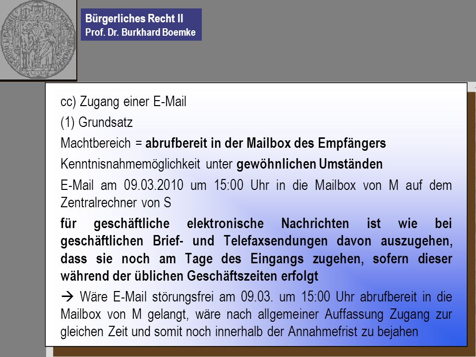 cc) Zugang einer E-Mail