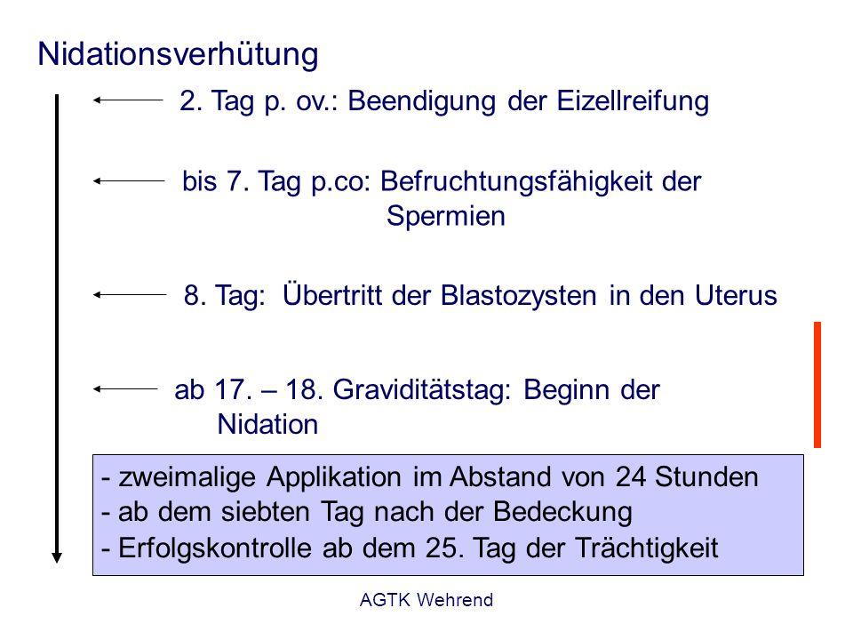 Nidationsverhütung 2. Tag p. ov.: Beendigung der Eizellreifung