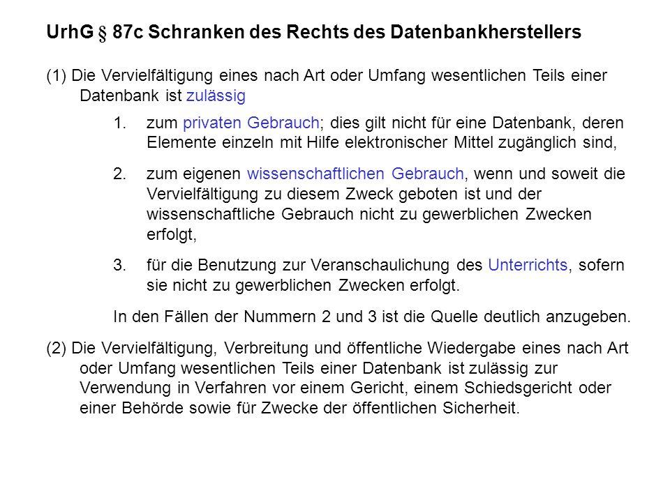 UrhG § 87c Schranken des Rechts des Datenbankherstellers