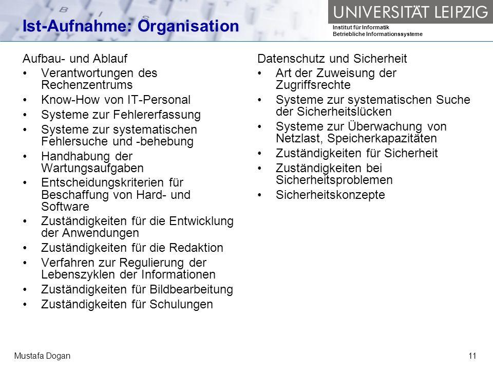 Ist-Aufnahme: Organisation