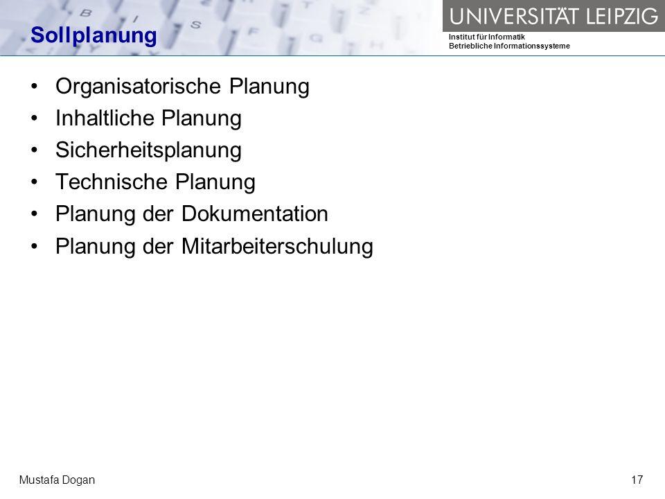 Organisatorische Planung Inhaltliche Planung Sicherheitsplanung