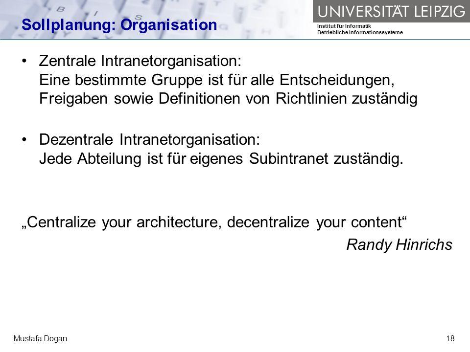 Sollplanung: Organisation