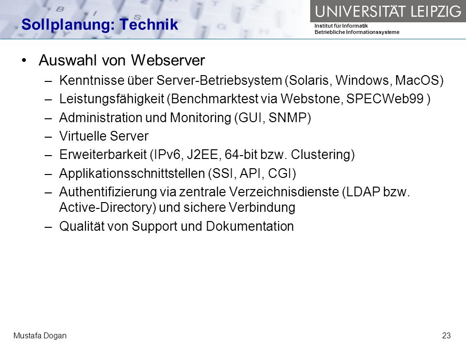 Sollplanung: Technik Auswahl von Webserver