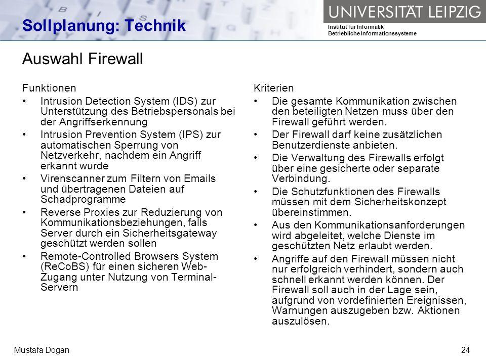 Sollplanung: Technik Auswahl Firewall Funktionen