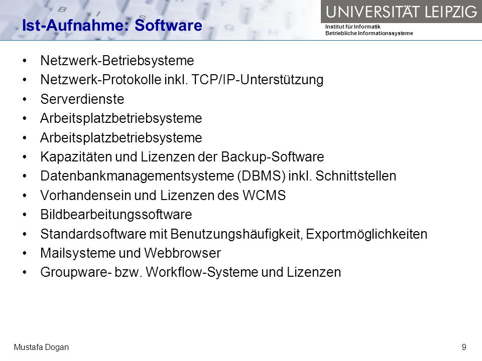 Ist-Aufnahme: Software