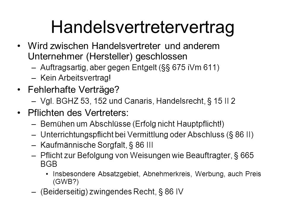 Handelsvertretervertrag