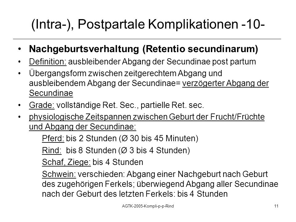 (Intra-), Postpartale Komplikationen -10-