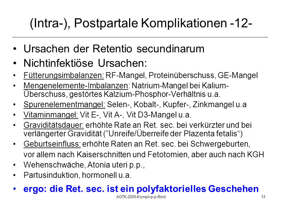 (Intra-), Postpartale Komplikationen -12-