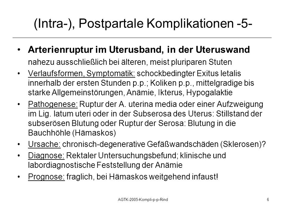 (Intra-), Postpartale Komplikationen -5-