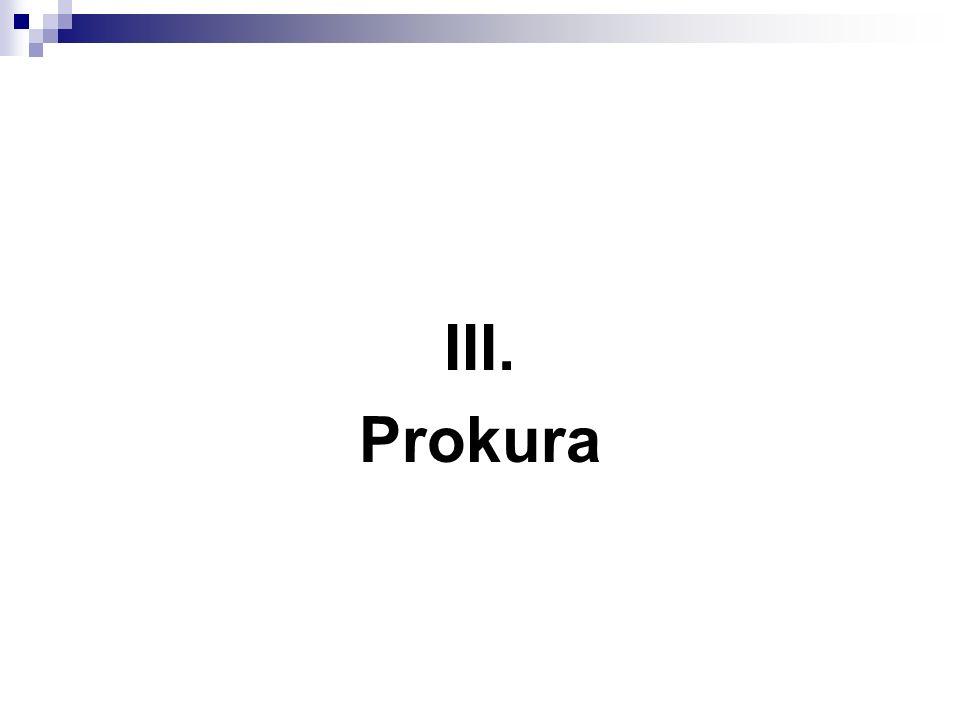 III. Prokura