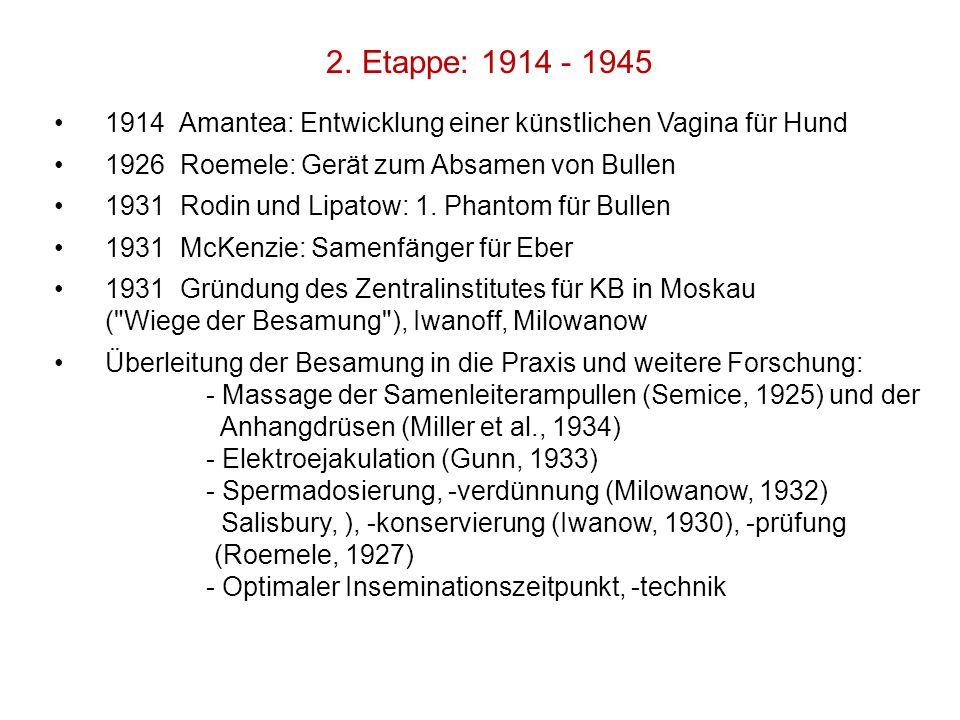 2. Etappe: 1914 - 1945 1914 Amantea: Entwicklung einer künstlichen Vagina für Hund. 1926 Roemele: Gerät zum Absamen von Bullen.
