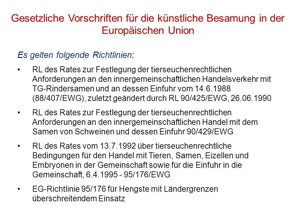 Gesetzliche Vorschriften für die künstliche Besamung in der Europäischen Union