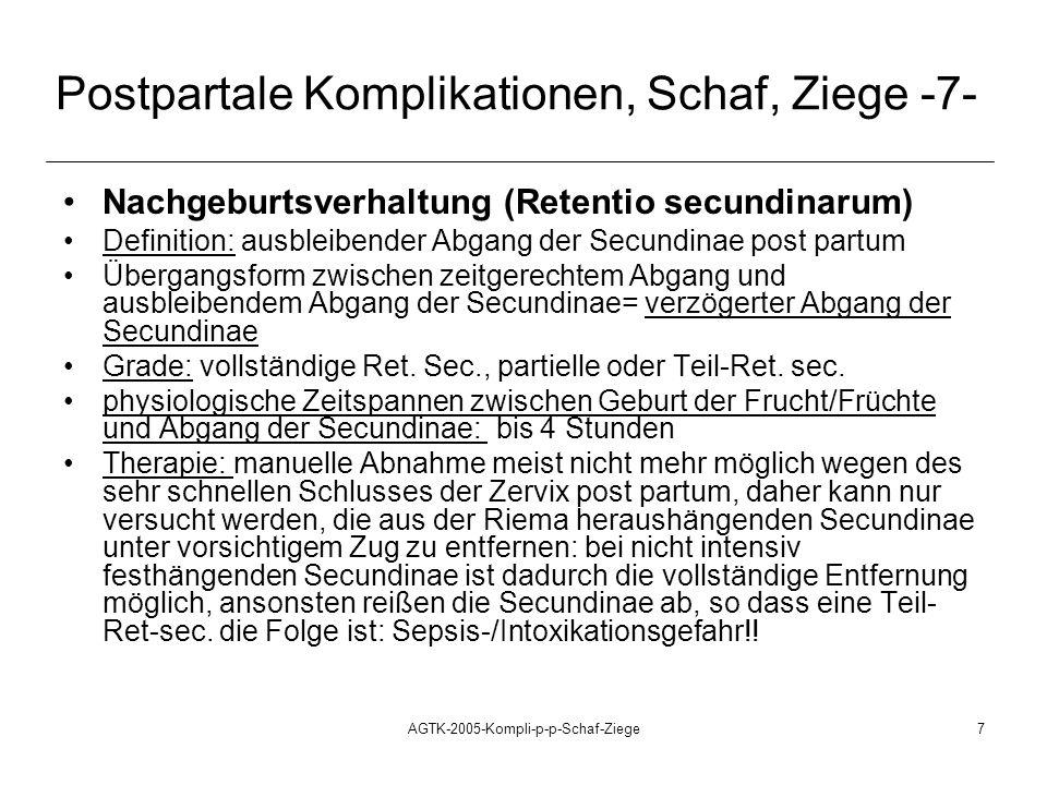 Postpartale Komplikationen, Schaf, Ziege -7-