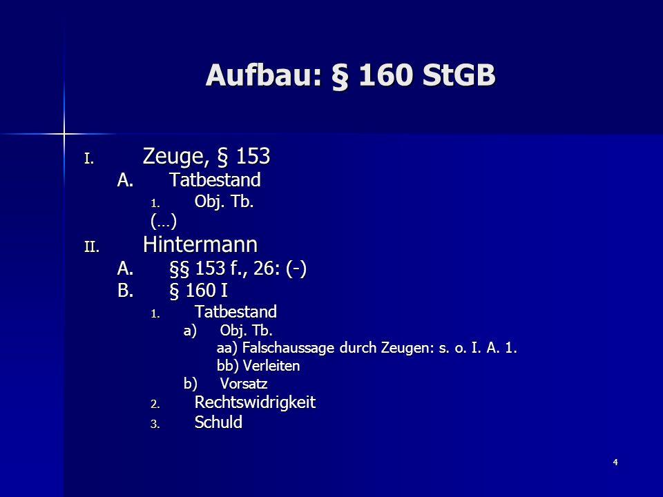 Aufbau: § 160 StGB Zeuge, § 153 Hintermann Tatbestand