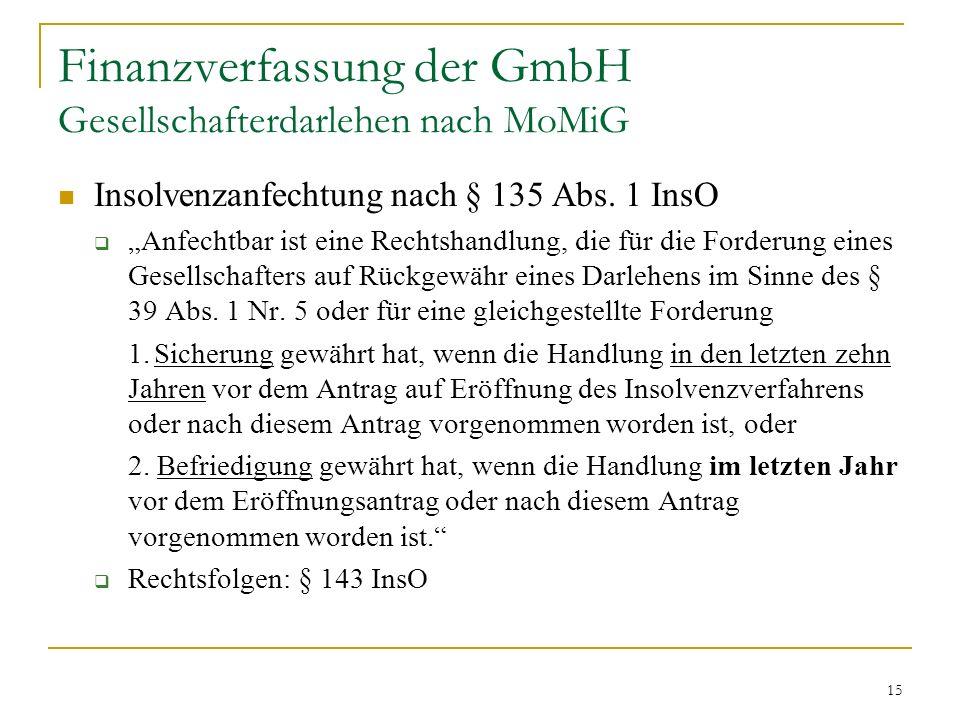 Finanzverfassung der GmbH Gesellschafterdarlehen nach MoMiG