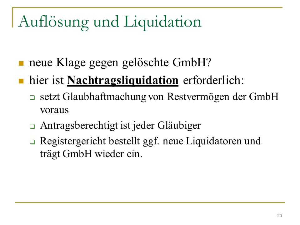 Auflösung und Liquidation