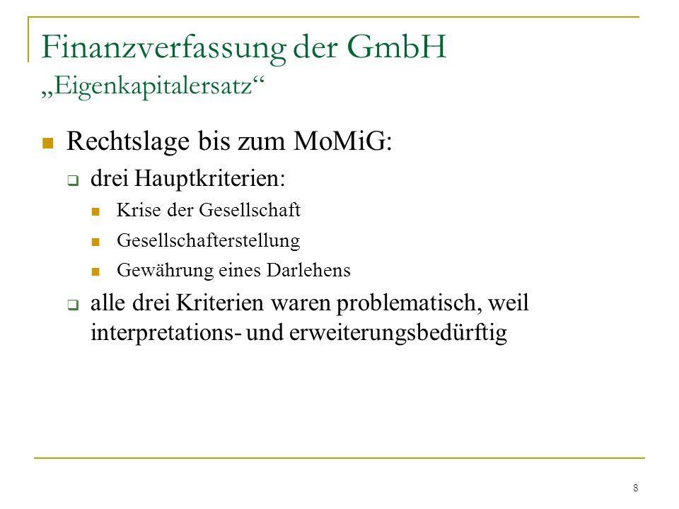 """Finanzverfassung der GmbH """"Eigenkapitalersatz"""