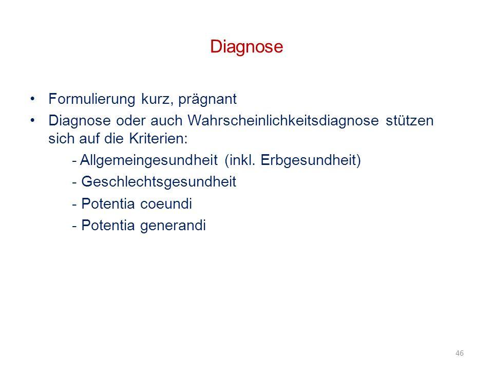 Diagnose Formulierung kurz, prägnant