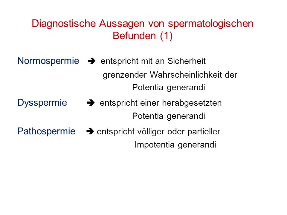 Diagnostische Aussagen von spermatologischen Befunden (1)