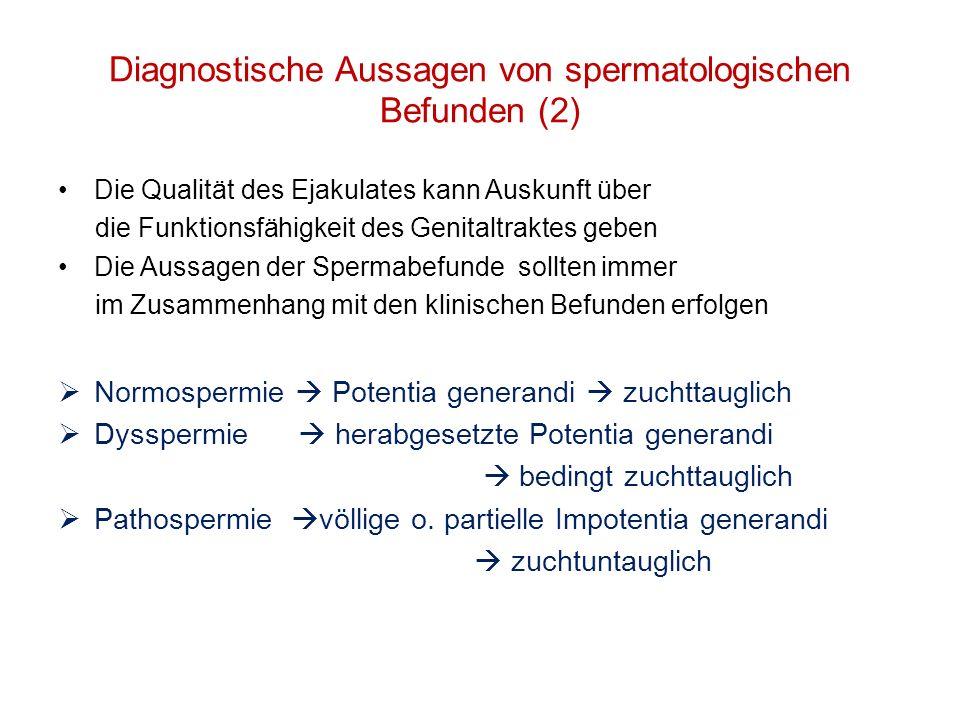 Diagnostische Aussagen von spermatologischen Befunden (2)