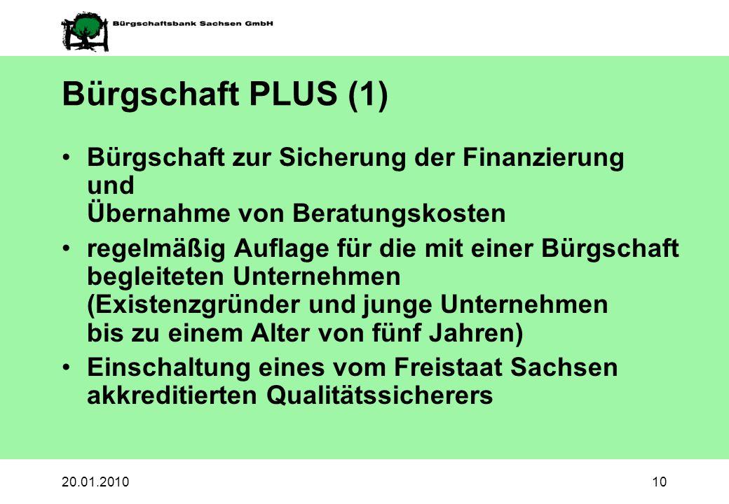 Bürgschaft PLUS (1) Bürgschaft zur Sicherung der Finanzierung und Übernahme von Beratungskosten.