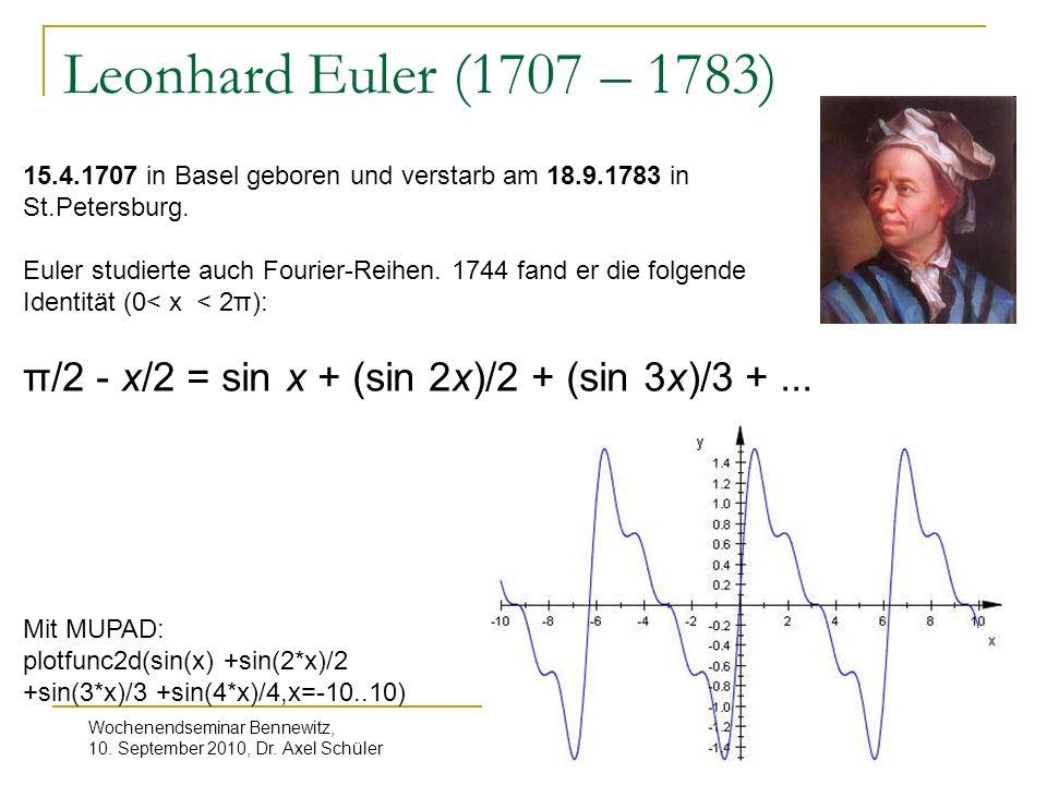 Leonhard Euler (1707 – 1783) 15.4.1707 in Basel geboren und verstarb am 18.9.1783 in St.Petersburg.
