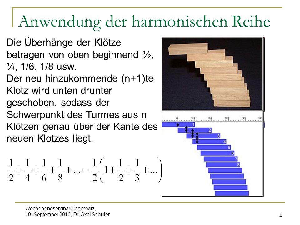 Anwendung der harmonischen Reihe