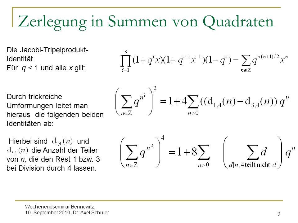 Zerlegung in Summen von Quadraten