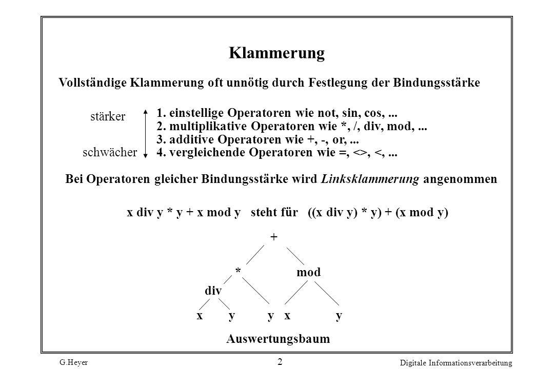 Klammerung Vollständige Klammerung oft unnötig durch Festlegung der Bindungsstärke. 1. einstellige Operatoren wie not, sin, cos, ...