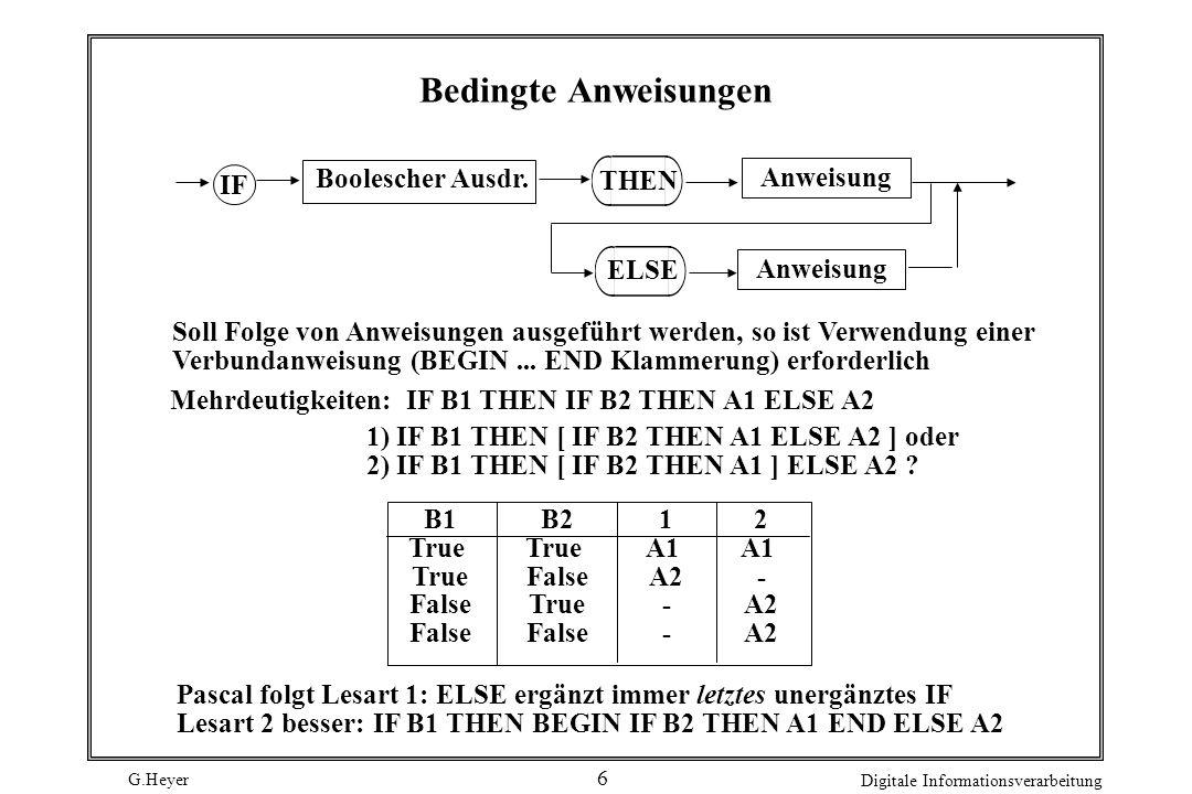 Bedingte Anweisungen Anweisung IF Boolescher Ausdr. THEN ELSE