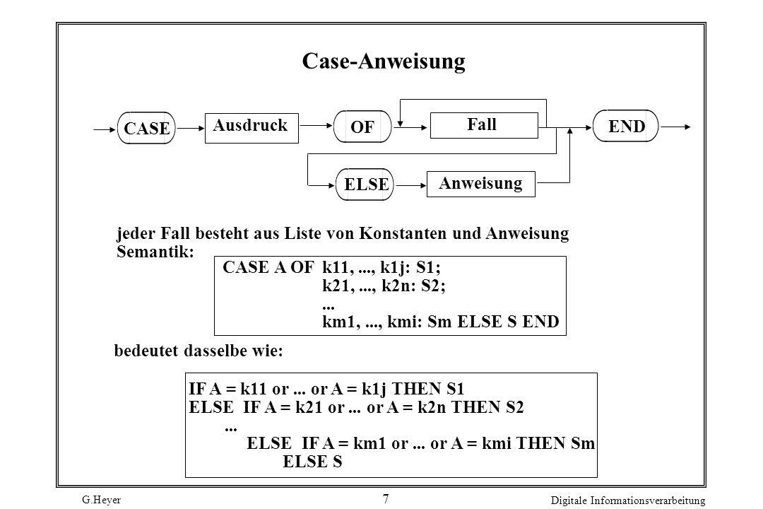 Case-Anweisung CASE Ausdruck OF Fall END ELSE Anweisung