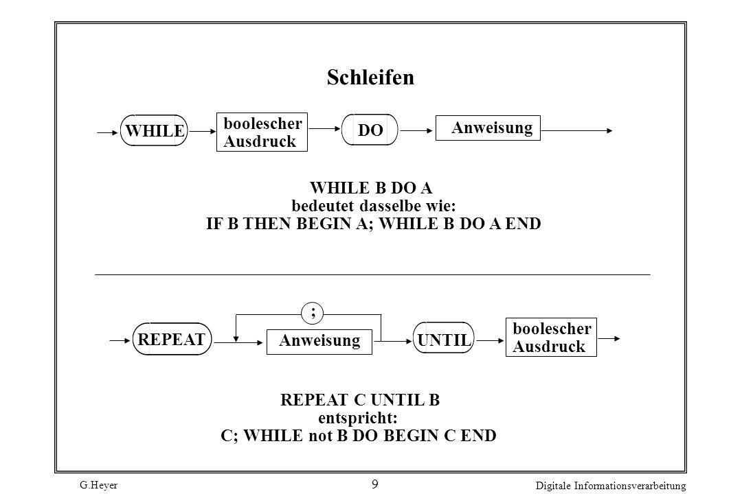 Schleifen boolescher Ausdruck WHILE DO Anweisung WHILE B DO A
