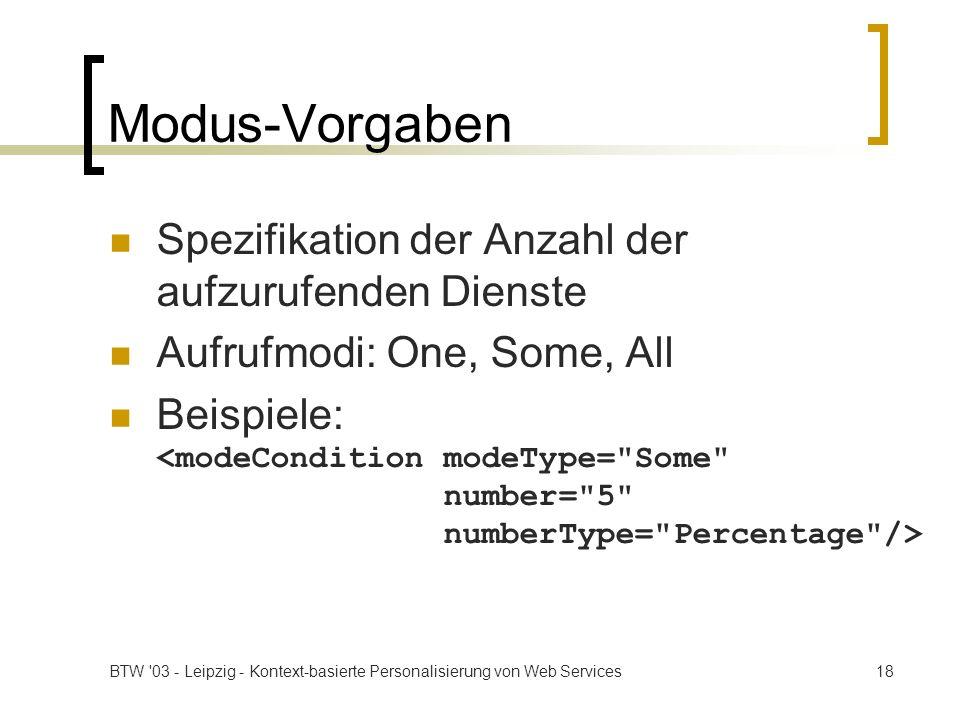Modus-Vorgaben Spezifikation der Anzahl der aufzurufenden Dienste