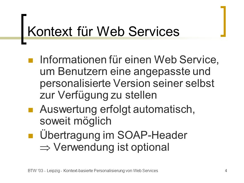 Kontext für Web Services