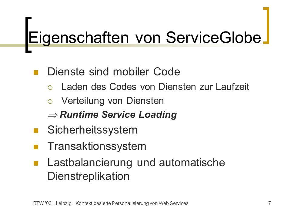 Eigenschaften von ServiceGlobe