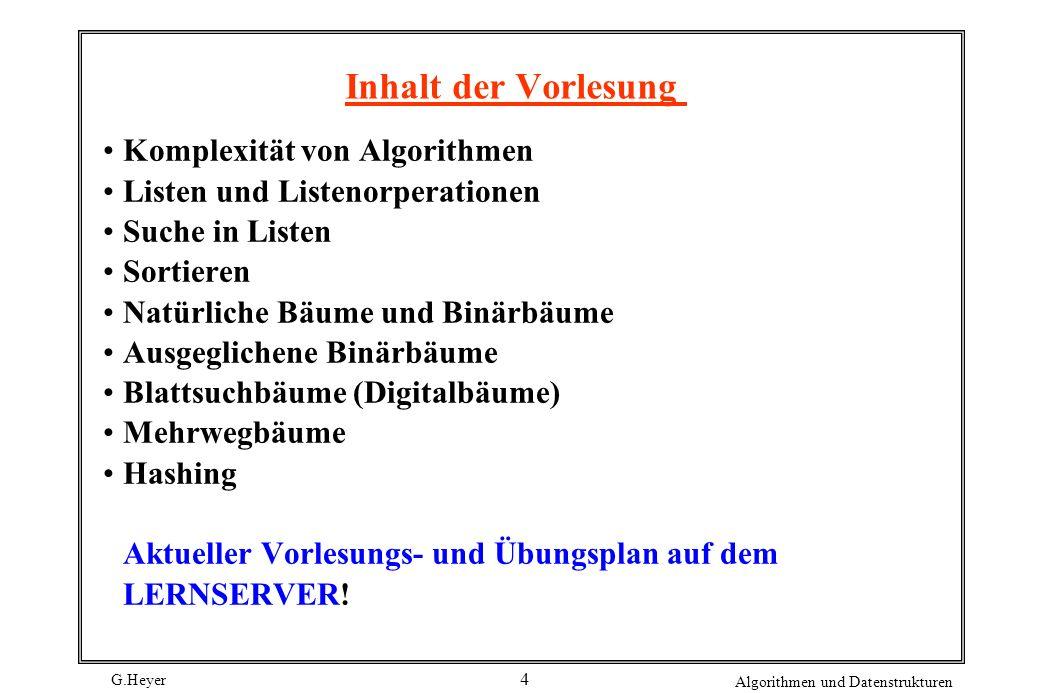 Inhalt der Vorlesung Komplexität von Algorithmen