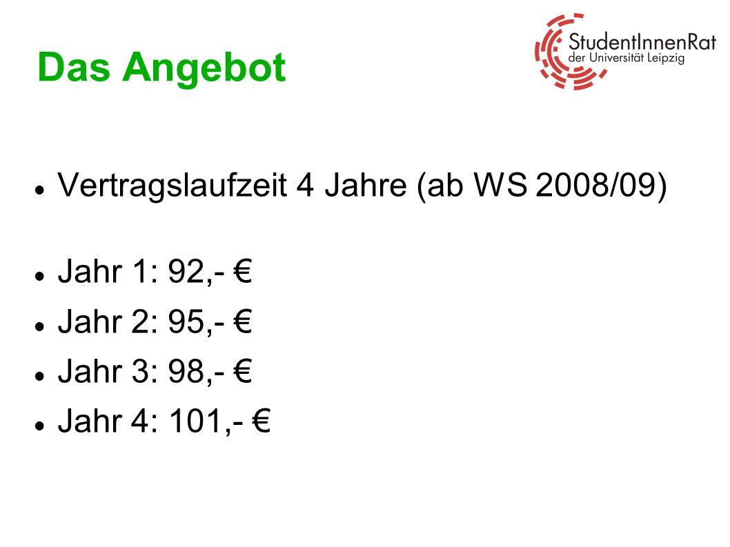 Das Angebot Vertragslaufzeit 4 Jahre (ab WS 2008/09) Jahr 1: 92,- €